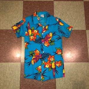 Vtg floral Button Up Hawaiian kids stranger things